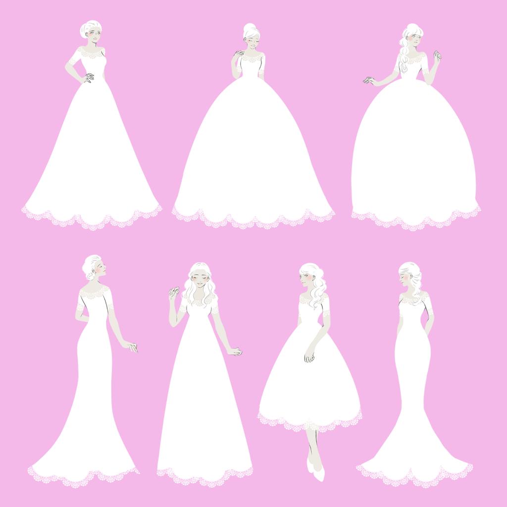 ライン別ウエディングドレス イラスト 女性向けイラスト制作